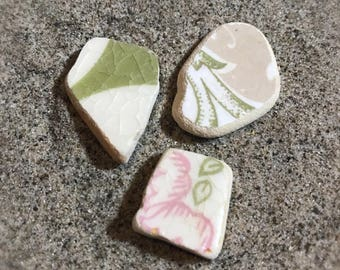 Sea Pottery Pieces * Italian Beach Pottery Floral Shards * Surf Tumbled Pastel Colored Ceramics Pieces * Sea Washed Tile Pieces