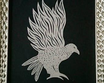 Bird of prey card-cut art