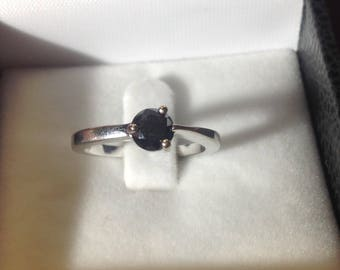 18ct White Gold one carat black diamond solitaire