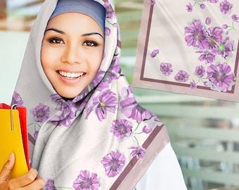 Flower Pattern Square Scarves Hijab 110cm x 110cm Material Voile Turkish