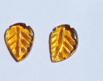 Small Golden Yellow Tourmalines, Pair of Hand Carved, Amber Yellow Tourmaline, Leaf Shape Carvings, 8 x 6mm Leaves, C4642