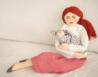 HandMade Fabric Doll Tilda Doll Hand Painted Craft Baby Room Rag Doll Personalized
