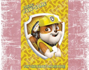 Pin the Badge on Rubble - Paw Patrol Birthday Printable Game