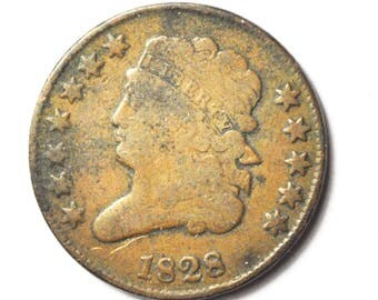 1828 1/2c Classic Head Half Cent US Coin Rare Copper 12 Stars