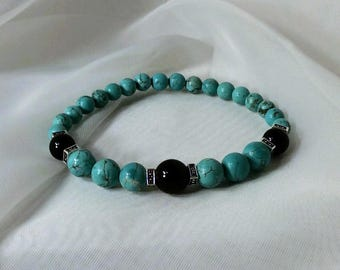 Turquoise and Black Onyx Stretch Bracelet