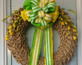 Spring Burlap Petal Wreath