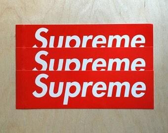 3pcs Supreme Box Logo Sticker red classic 3X9Cm High Quality Fast Shipping