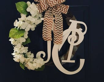 Monogrammed Hygrangea Wreath