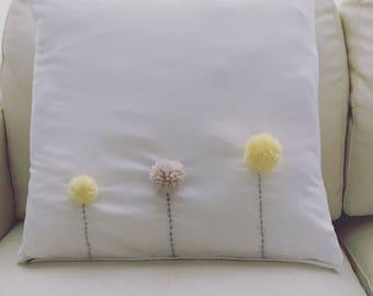 PomPom Flower Cushion cover