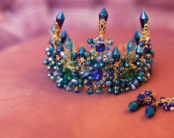 Wedding - Bridal diadem blue diamond Crystal + GIFT Blue diamond earrings (princess tiara, queen crown, swarovski)
