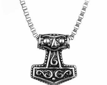 Hammer Pendantor  Silver THORS HAMMER Pendant Mjölnir God of Thunder Nordic Mythology Thor Pendant Medieval
