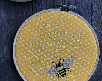 Honeycomb & Bee Embroidery