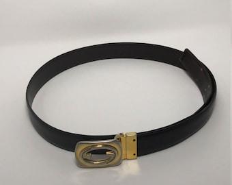 """Vintage Gucci Men's Black Leather Belt GG Gold Buckle 40"""""""