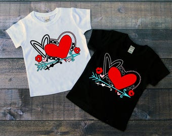 Children's Valentine's Day Tee Shirt, Valentine's Hearts Shirt, Love Tee Shirt, T-Shirt, Black or White Tee, Infants, Toddler, Youth, Girls