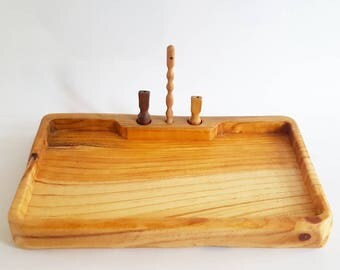 Handmade Wooden Rolling Tray With 2 Wooden Smoking Rollie Roach Filter Tip Holders & An Oakie Pokie.