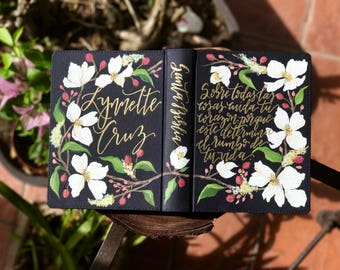 Floral Hand Painted Bible  // 'Above all things, guard your heart'
