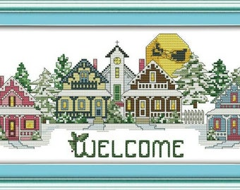 Welcome  Cross Stitch Kit,Welcome Embroidery Kit Door Deco Picture,DIY Gift,Welcome.Embroidered Picture,Modern Cross Stitch