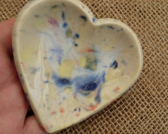 Handmade Ceramic Heart Shaped Ring & Trinket Dish. Pin Dish.