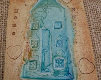 "Handmade Ceramic ""home sweet home ""hanging tile. Handmade home decor New home Housewarming gift."