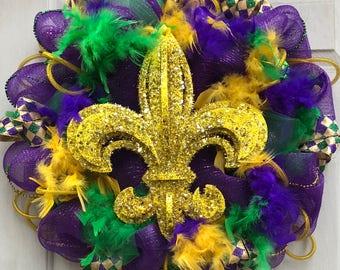Mardi Gras Wreath, Mardi Gras Door decorations, Fleur de lis wreath, Fat Tuesday, Louisiana Wreath