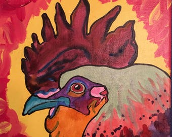"""Colorful Rooster Watercolor painting 8""""x10"""""""