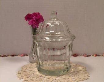 Antique Clear Glass Apothecary Jar Drug Store Jar with Matching Lid Early 1900's