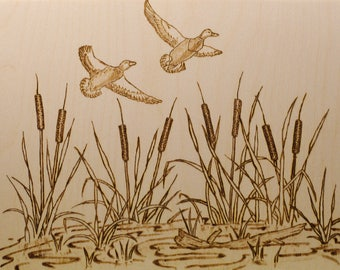 Wood Burned Flying Ducks