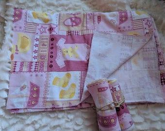 Receiving Blanket and Burp Cloths
