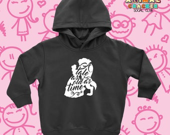 """Cute Disney Hoodie with Saying """"Tale As Old As Time"""" /Cute Kids Clothing for Little Girls/ Sweatshirts for Kids/ Motivational Hoodies/ Belle"""