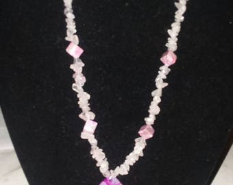 Rose quartz with pink agate necklace and Dragon vein agate necklace.