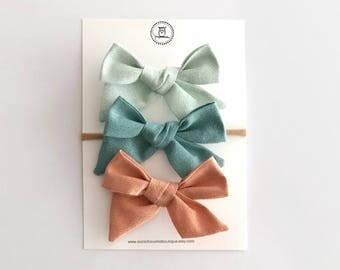 Mint Metallic Shimmer Bow | baby headband, hand tied bows, hair bows, nylon headband, oversized bow, pinwheel bow