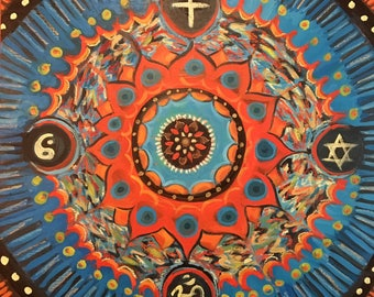 "24"" Unity Mandala, Oil on Wood Panel"