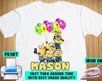 Minions Iron On Transfer / Minions Birthday Shirt Design / Minions Personalize DIY Shirt / DIY Birthday Shirt / Digital Files