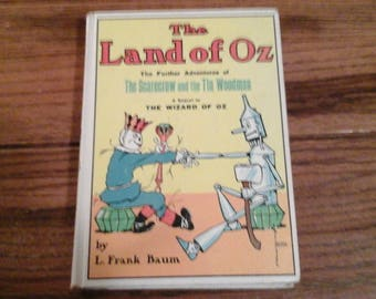 """Classic 1965 Book """"The Land of Oz The Further Adventures of The Scarecrow and the Tin Woodman"""" L Frank Baum Childrens Vintage Wizard of Oz"""