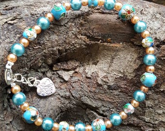 Pretty Turquoise Cloisonne and Glass Bead Bracelet