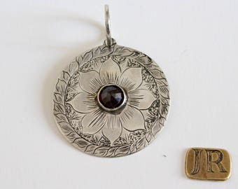 Silver sterling pendant with deep red gametes - handmade
