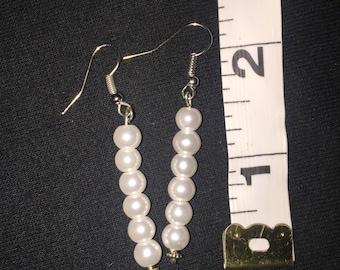 Silver White Pearl Pierced Earrings