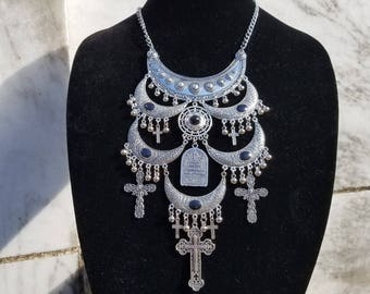 Black Vampire enamel, tombstone, tribal Gothic bib necklace
