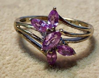 9ct Victorian Antique Pink Quartz Ring