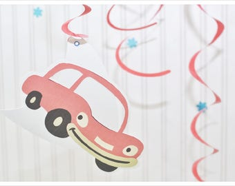 Baby boy car decor, red, speed, cars, swirly, personalized, decorations, baby boy, welcome, baby shower, wall hangings, double-sided