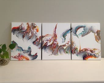 No. 34. Set of three, 28cm x 36cm, Acrylic pour paintings.