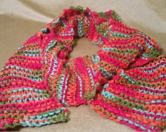 Multi-color w/ red metallic scarf