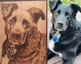 Pet Portrait Custom Wood Burned