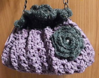 Purple and green crochet bag