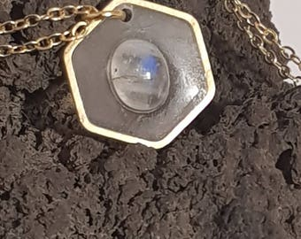 Labradorite white Hexagon suspended stone necklace