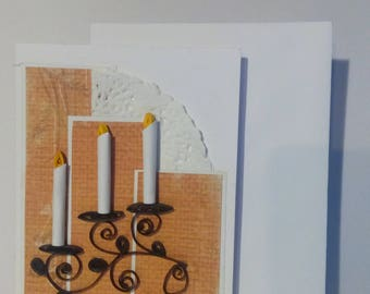 "Card in quilling ""3 candles"""