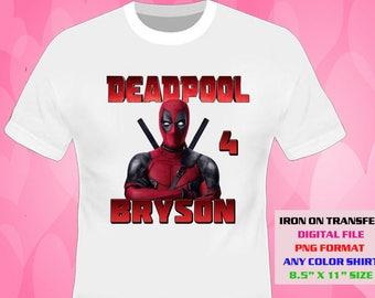 Deadpool Iron On Transfer , Deadpool , Deadpool Birthday Shirt DIY Designs , Deadpool Printable , Personalize Transfers , Digital Files