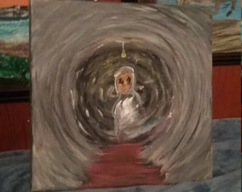 Painting,10x10 canvas wood frame,lost I call this piece,arcrilic paint,depressionart,st patricks,horror,deviant,gift,landscape,paranormal