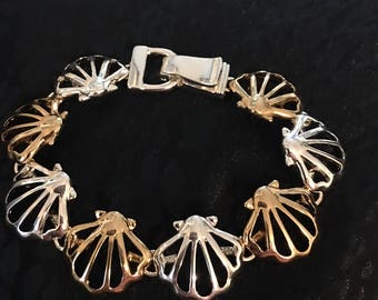 Sterling Silver And Gold Sea Shell Bracelet