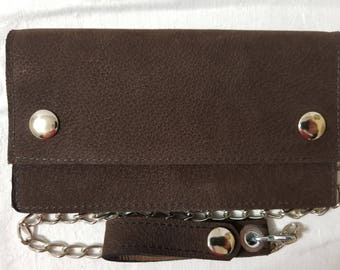 Dark Brown Buffalo Hide Leather Biker Chain Wallet
